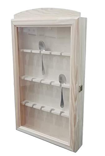 Vitrina colecciones cucharas. Capacidad: 18 cucharas. En madera de pino en crudo. Se puede pintar. Medidas (ancho/fondo/alto): 30 * 6.5 * 54 cms.