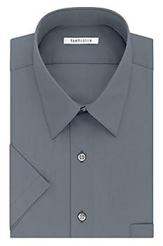Van Heusen Men s Dress Shirts Short Sleeve Poplin Solid grey 18.5  Neck