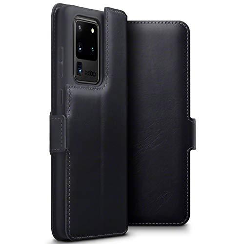 TERRAPIN, Kompatibel mit Samsung Galaxy S20 Ultra Hülle, Premium ECHT Spaltleder Flip Handyhülle Samsung Galaxy S20 Ultra Hülle Tasche Schutzhülle, Schwarz