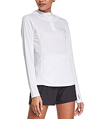 BALEAF Women's UV Hooded Shirt Long Sleeve Quick Dry Tops Lightweight Running Shirt White L