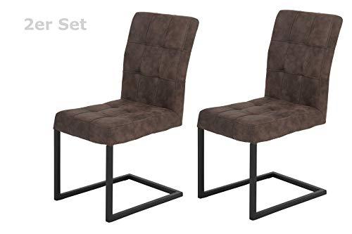 2er Set Schwingstuhl Donna, Bezug Softex Vintageoptik Braun, Metallgestell Anthrazit, 62x42x91 cm