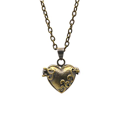 iMustbuy Brass Openable Hollow Souvenir Pet Ashes Hair Necklace Pendant Bronze Love Religious Jewelry Heart-Shaped Chain