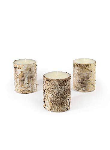 Serene Spaces Living Birch Bark Candle, Small Size, Set of 3 – Pillar Style Candle Brings Nature Indoors, Ideal for Weddings, Parties, Events, Restaurants, Home Decor, 3' in Diameter & 4' Tall