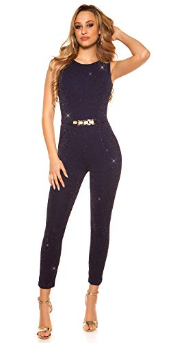 Koucla Damen Overall Jumpsuit Playsuit mit Schnalle (Marine (Glitzer), M)