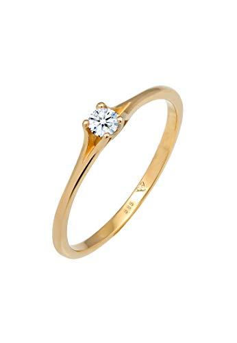 DIAMORE Ring Damen Verlobung Vintage mit Diamant (0.06 ct.) in 585 Gelbgold