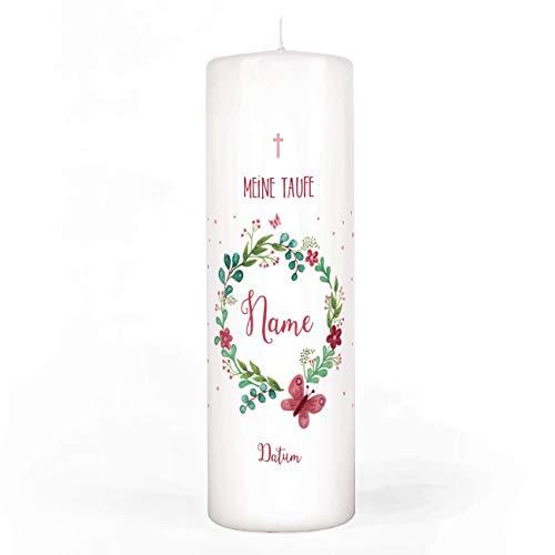 Striefchen® Taufkerze für Mädchen mit Blumenkranz und Schmetterling Bedruckt mit Namen u. Taufdatum sowie eigenen Taufspruch 8x25 cm