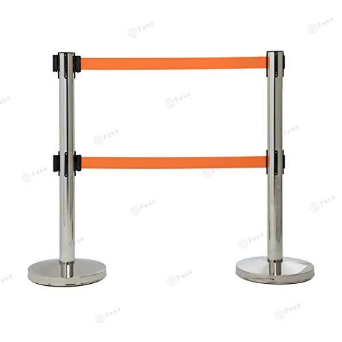 Poste separador, catenaria, inox con doble cinta de 2m color naranja, 2 unidades