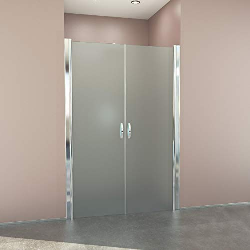 glasshop24 Duschtür 100 cm - 98-103cm verstellbar, Höhe: 195 cm, Duschtür Nische aus 6mm Sicherheits-Glas, Nano, Milchglas - Nischentür, Duschtüre, Duschabtrennung, Falttür, Pendeltür