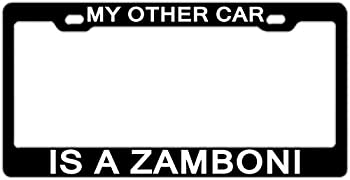 WHXSSJ My Other Car is A Zamboni Black License Plate Frame Car License Plate Cover for License Tag Aluminum Metal 2 Holes and Screws
