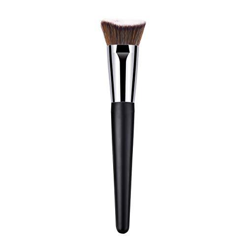 Lurrose Fond de teint liquide Brosse de maquillage pour le visage à surface plate pour mélanger la crème liquide et le correcteur (manche en bois noir)