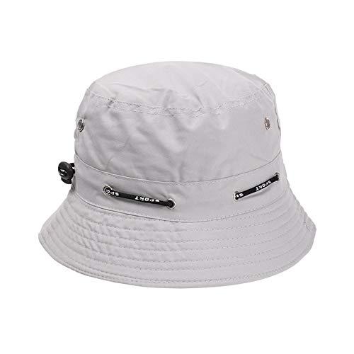 Summer Foldable Bucket Hat Unisex Women Outdoor Sunscreen Cotton Fishing Cap Men Basin Chapeau Sun Prevent Hats-grey 1