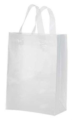 Medium Clear Plastic Frosty Shopping Bags 8 x 4 ½ x 10 ¼ Inches - Case of 25