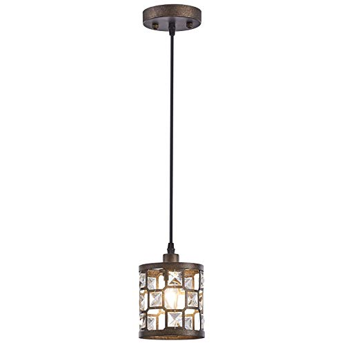 Rustic 1-Light Mini Pendant Light, Adjustable Height Hanging Light Fixture with Oil Rubbed Bronze Finish for Kitchen Island, Dining Room and Entryway