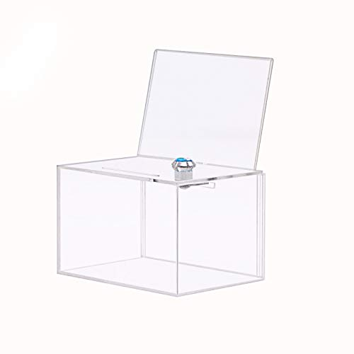 Donation Box with Lock,Acrylic Ballot/Suggestion Box with 4x6 Ad Frame, Clear Storage Container Ticket Vote Box