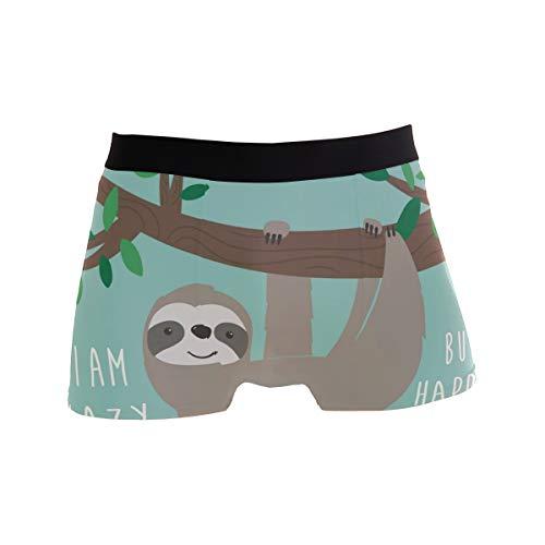 Alarge Herren-Boxershorts, tropisches Hawaii, süßes Faultier, kurze Unterwäsche, weiche Stretch-Unterhose für Herren, Jungen, S-XL Gr. L, multi