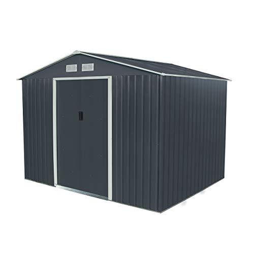Charles Bentley Navy Grey 9ft x 6ft Metal Steel Garden Shed Outdoor Storage