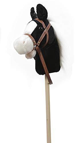 GERILEO Steckenpferd Spielzeug mit Sound - Plüschpferd - Verschiedene tolle Farben (Schwarz mit weißer Mähne)