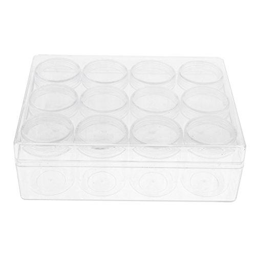 12 Stück Rund Kunststoff Leere Perlendosen Sortierdosen Sortierbox Aufbewahrungsbox für Acrylpulver Strass Anhänger usw. - klar