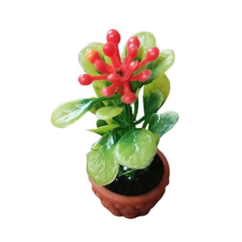 Sonoaud Maceta para casa de muñecas de resina exquisita, accesorio de planta para accesorios de fotos, decoración de muebles de regalo para niños mayores de 3 años rojo