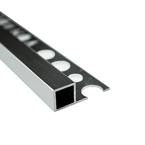 Alu Vierkant Quadro Profil Fliesenschiene Schiene silber L270cm H10mm poliert
