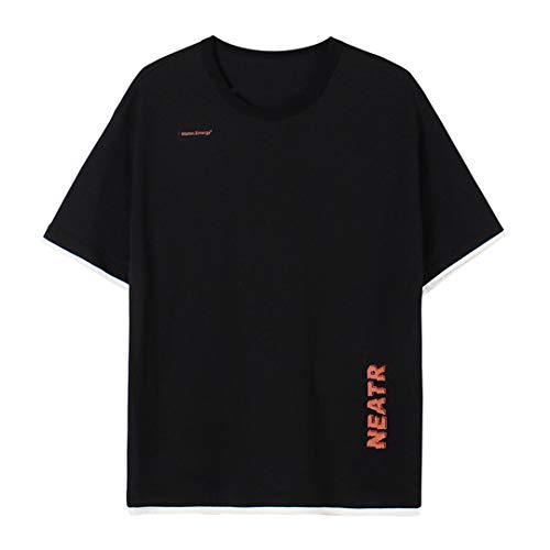 Marico Atmungsaktiv Brief Gedruckt T-Shirt Alphabet Druck T Shirts Sommer Kurzes Hemd Unisex T-Shirt mit Rundhalsausschnitt Lässig Baumwolle Tops Bequem Lose Kurzarm,A,S