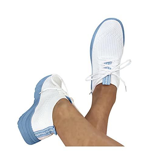 Soolike Zapatillas Mujer Casual Deportivas Caminar para Mujer/Hombre,Transpirable Zapatos de Running Sneakers Ligeras Zapato,Zapatos de Cuña con Plataforma,Zapatos de Cómodos,Diseño de Color d