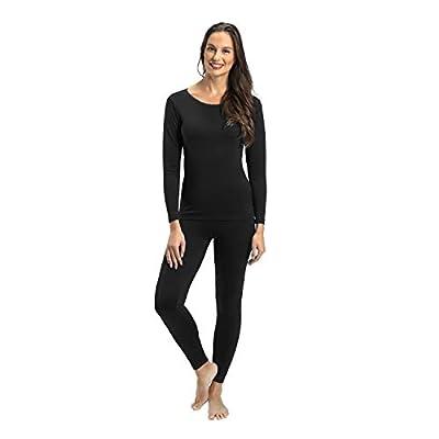 Rocky Thermal Underwear for Women Lightweight Cotton Knit Thermals Women's Base Layer Long John Set (Black - Lightweight - Large)
