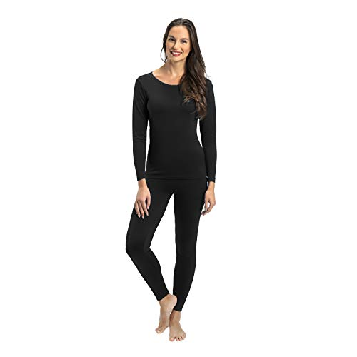 Rocky Thermal Underwear for Women Lightweight Cotton Knit Thermals Women's Base Layer Long John Set (Black - Lightweight - X-Small)