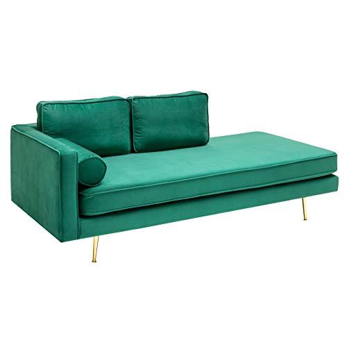 riess-ambiente.de Elegante Récamière Diva 196cm smaragdgrün Samt goldene Füße Sofa Daybed Sofaliege