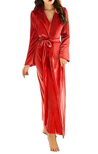 ShineGown Extra Langer Bademantel für Frauen Fuzzy Warme Nachthemd Damen Robes Winter Samt Plüsch Schal Jahrgang