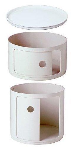 Kartell 4953 + 4955 + 4959 03 - Mobile componibile Anna Castelli Ferrieri, set di 2 pz, dimensioni: 42 cm, colore: bianco