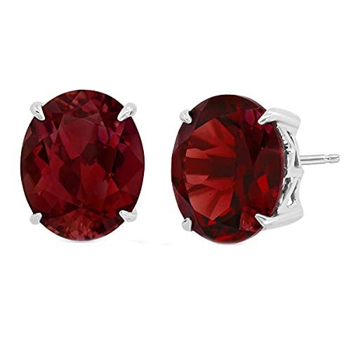 CaratYogi plata de ley 925 plata de ley ovalada Red Granate natural