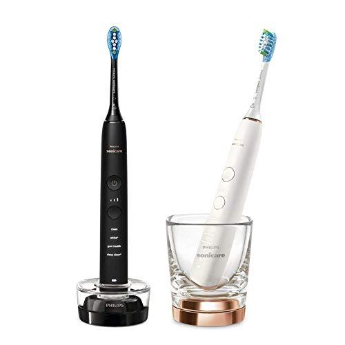 Philips HX9914/57 Cepillo de dientes eléctrico Sonicare DiamondClean 9000 Series - Juego de 2 cepillos de dientes eléctricos conectados, color negro y rosa