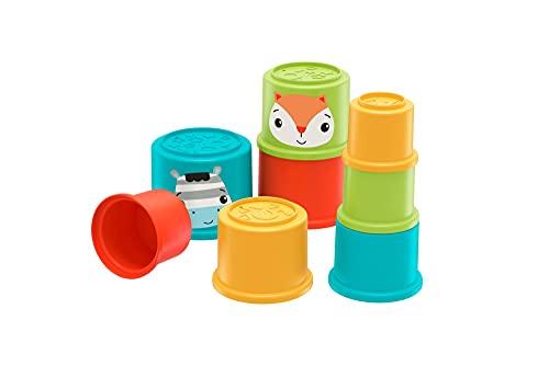 Fisher-Price Cubos apilables de colores con motivo de animales, juguete para bebés +6 meses (Mattel GYM46)