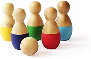 Shumee Wooden Preschool Mini Bowling Pins Toy Set for Toddlers, Kids (2 Years+) - Indoor & Outdoor Fun Learning Interactiv...