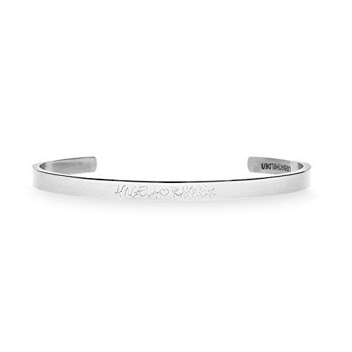 URBANHELDEN - Gravierter Armreif mit Ihrem Wunschnamen - Damen Schmuck Bangle Personalisiert - Verstellbar, Edelstahl - Armband mit Wunschgravur - V2 Silber