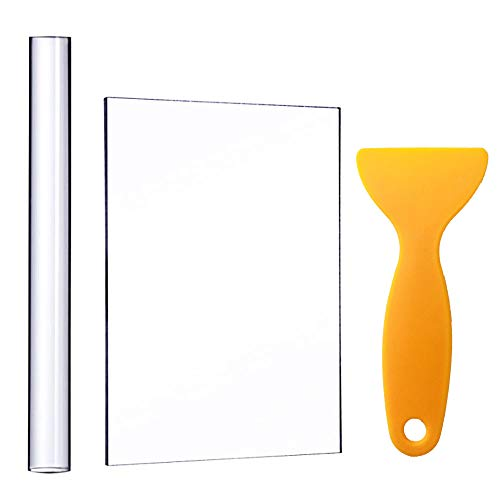 Acrylic Clay Roller with Acrylic Sheet Backing Board Assisted Shovel Rubber Clay Tools/Moulds Acrylic Ultra-Light Clay Hand-Made DIY Tool Materials
