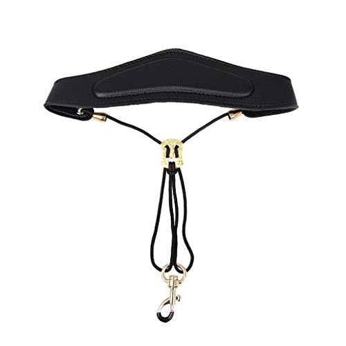 Gwxevce Verstellbarer Saxophon-Schultergurt Leder-Halsgurt Hängen Sie die Halsschulter
