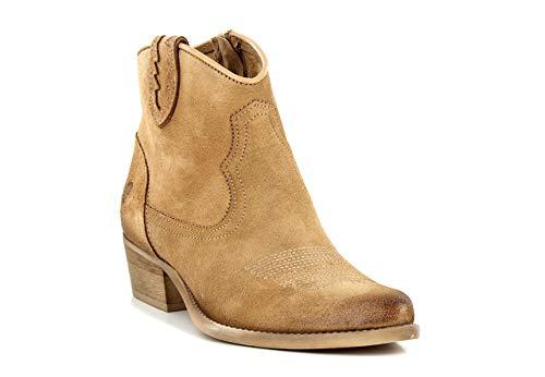 Felmini - Damen Schuhe - Verlieben West C360 - Cowboy & Biker Stiefeletten - Echtes Leder - Braun - 36 EU Size