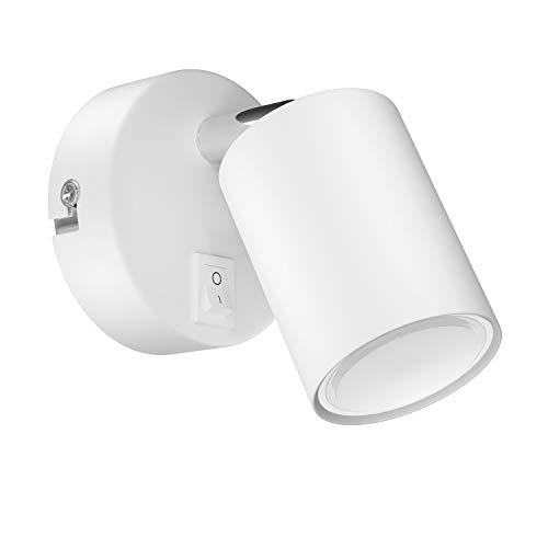 ledscom.de Wandspot WAIKA, einflammig, mit Schalter, GU10, weiß matt, inkl. 340lm LED GU10 Lampe, warm-weiß