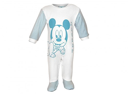 Jungen Baby-Strampler Bio-Baumwolle von Mickey Mouse in GRÖSSE 56, 62, 68, 74, Wanzi, Baby-Schlafanzug LANG-ARM mit Druck-Knöpfen, Spiel-Anzug, Einteiler mit Füßchen Größe 56