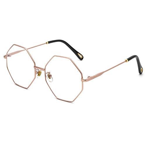TANGMING Trendy unregelmäßige Metall Brille Rahmen männliche Mode achteckige Sonnenbrille weibliche Ozean Film Sonnenbrille Roségold Rahmen weißen Film