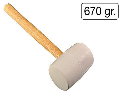 Gummihammer weiß 670 gr mit stabilem Holzgriff -hinterlässt keine Spuren