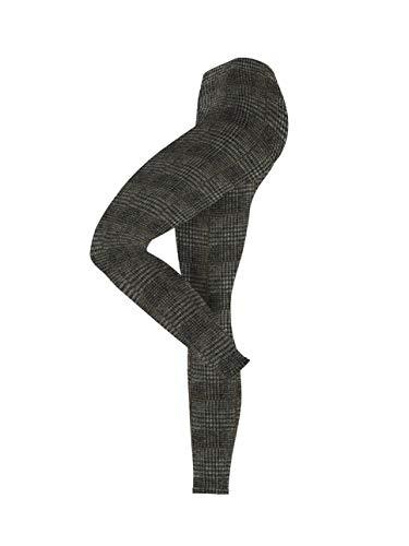 ESPRIT Damen Leggings Shiny Check, Blickdicht, Leicht Glänzend, 1 Stück, Schwarz (Black 3000), Größe: 40-42
