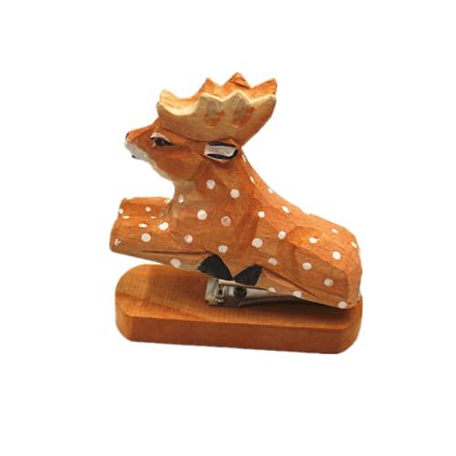 Easenhub Handmade Wooden Reindeer Stapler, Creative Wooden Office Stationery, Animal Staplers for Paper