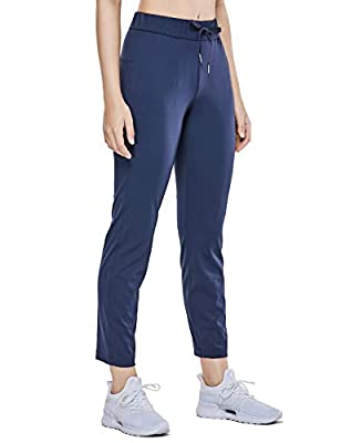 CRZ YOGA Women's Stretch Lounge Sweatpants Travel Ankle Drawstring 7/8 Athletic Track Yoga Dress Pants True Navy M