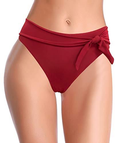 SHEKINI Traje de Baño para Mujer Pantalones Negros Abdominal Flaring Cintura Alta Control Pantalones de Bikini Fruncidos Color Sólido Bañadores Retro Bikini Bragas (Vino Rojo D, S)