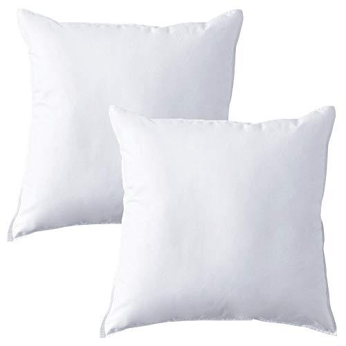 Mack Feather Pillow 45x45cm Pack of 2 (18' x 18', 2 Pack) - Quality Feather Filled Pillow Insert - Cover 100% Cotton