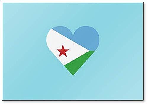 Dschibuti Flagge in Herzform, klassischer Kühlschrankmagnet