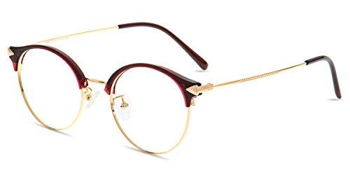 Zinff S1420 Geek Chic Damen Brille Retro Vintage Rund brille Clear Linsebreite 50mm mit Blaulicht-Filter Rot